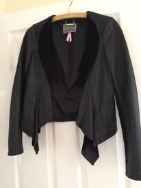 As new beautiful Lipsy black leather jacket with suade trim