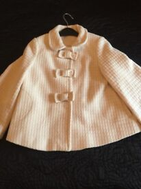Lovely sparkly girls cream cape jacket size 6-7