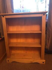 korona solid wood 2 shelf bookcase