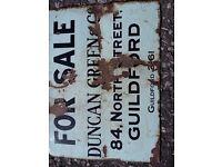 Estate agents enamel for sale sign