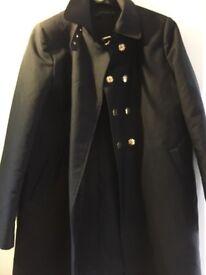 ZARA. Beautiful ladies black overcoat.
