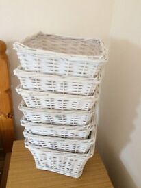 Collection of 7 White baskets