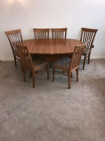 Stylish danish style mid century teak dining table and 6 chairs by GANGSO DENMAR