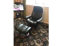 Green stressless reclining chair and footstool