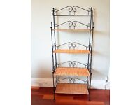 Wrought iron and wicker shelving / bookcase storage unit