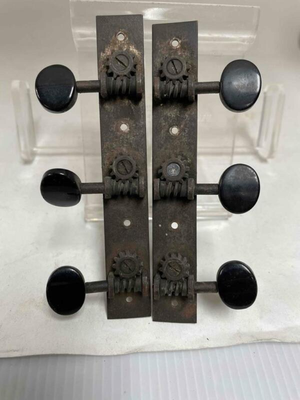 Vintage Guitar Tuners 3 ona Plate Black Buttons National Duoilian Trioloian