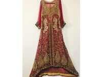 Deep red color asian wedding dress for sale