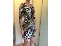 Flattering multi colour dress for sale (size 10)