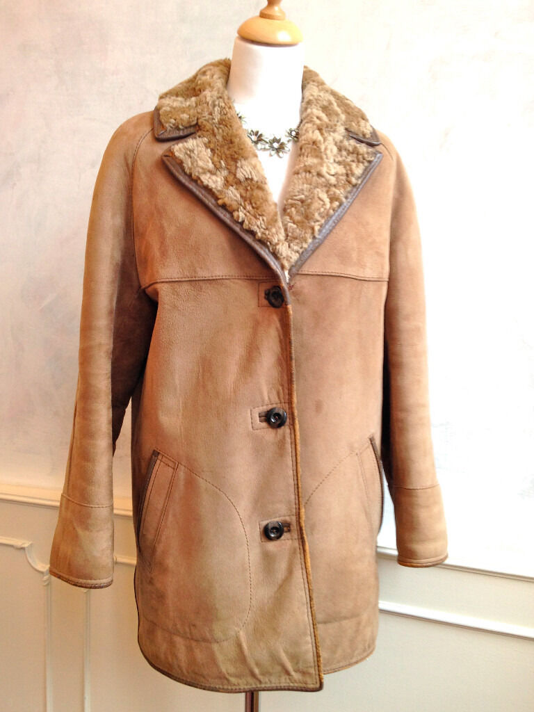 Vintage HEATONA Shearling Genuine Suede Sheepskin Winter Coat Tan ...