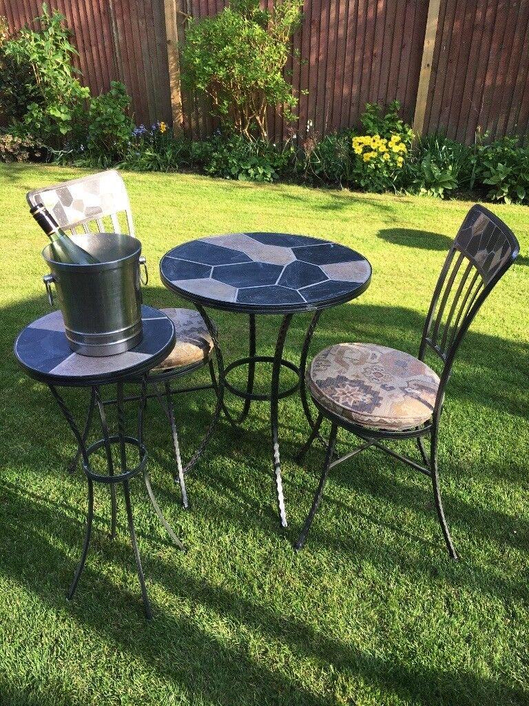 Elegant Patio/Garden Set. Table with Decorative Slate Finish, 2 ...