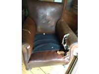 Lovely old leather chair ideal project to reupholster.