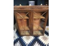 Antique wall cabinet, Victorian. Wood and glass.