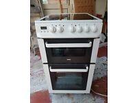 Zanussi ceramic double electric cooker oven white