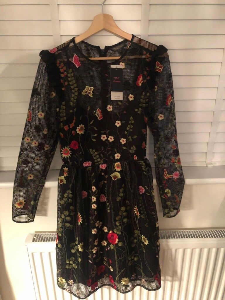 054948860ebc Black skater dress with embroidered flowers. Size 12. From Next. Never been  worn. Tags still on