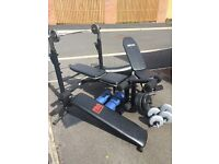 Weight bench with free weights two bench (incline & decline) straight bar and Z bar
