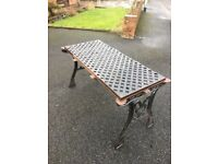 Full Cast Iron Garden Furniture Set - Table, 2 Benches, Parasol Base