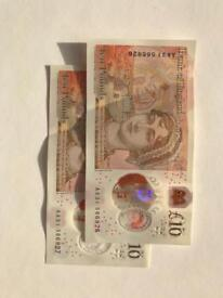 Two consecutive number £10 notes. AA31.