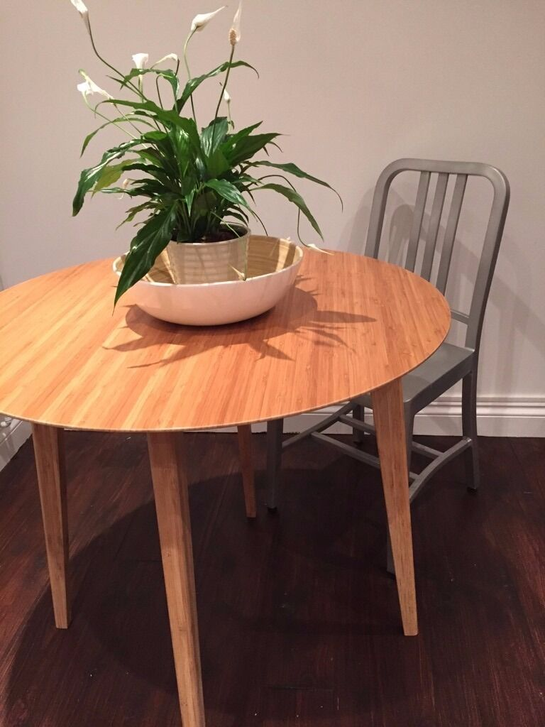 Gorgeous bamboo lovely round table 80cm brand new in box for Ikea bamboo dining table