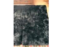 Plush design thick black shaggy rug x 2