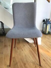 Pair of Brand New Grey Fabric Retro Chairs