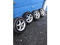 MX5 14 inch alloy wheels 4x100 with tyres