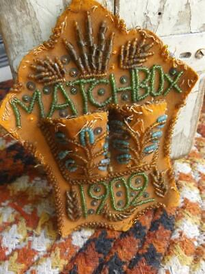 Beautiful Primitive Antique 1902 Hand Beaded Match Holder Glass Beads on Fabric