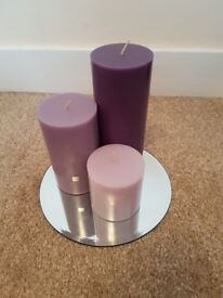 Partylite set of 3 x purple pillar candles 'black orchid' comes with mirror plate and boxes