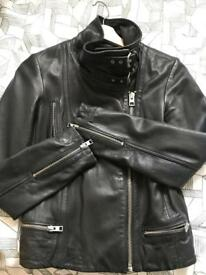 All saints black leather jacket size 4