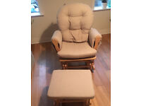 Hauck nursing / feeding / rocking chair and rocking stool for nursery