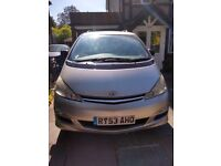 Silver 7 seater Toyota Previa 2.0l Diesel. '53 Manual Gearbox. Service history and M.O.T to May 2019