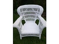 Large pretty white wicker chair