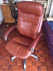 Sienna Real Leather Executive Office Chair - Brown - NEW - (originally £185)