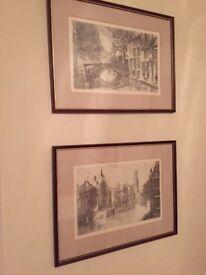 Bruges- Framed limited edition prints- 2 scenes in Bruges