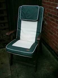 Four Horizon hardwood reclining garden chairs and removable cushions.