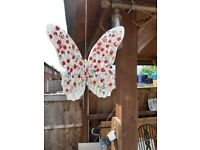 Butterfly with poppy decoration garden spinners