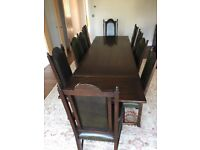 Oak Extending Dining Table And 10 Chairs