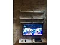 Wall mounted TV stand and shelves