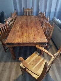 Indigo solid wood table and chairs