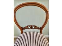 BALLOON BACK CHAIR WITH VELVETY ATTRACTIVE STRIPED SEAT FOR LOUNGE BEDROOM DRESSING TABLE ETC