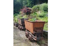 2 x steel mining cart and tracks