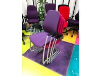 4 x Kinnarps 5000CV Fabric Meeting Room Stacking Chairs/Reception Office Chairs
