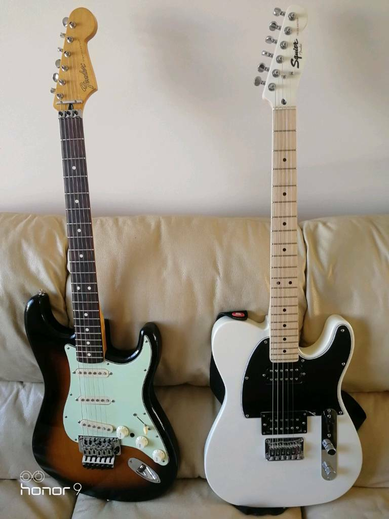 fender stratocaster and squire telecaster trade for gibson flying v or sg in crawley west. Black Bedroom Furniture Sets. Home Design Ideas