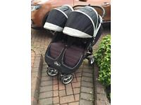 Baby Jogger City Mini double buggy with carry cot and rain cover