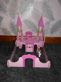 pink wooden castle.boxed with instructions