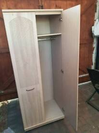 Wardrobe with mirror with clothes and top shelf (rail inside)