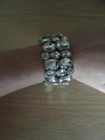 Chunky silver jewelled costume bracelet