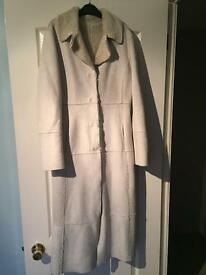 Cream faux fur coat 3/4 length size 10