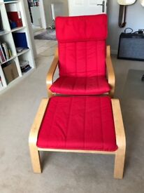 Ikea Pong Chair and footstool Red