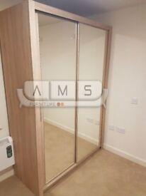 Brand New 2 Door Chelsea Sliding Wardrobe with Full Mirrored Doors, Shelves, Hanging Rail 2M Wide