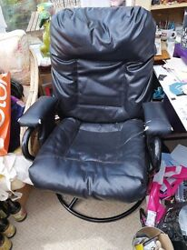 Large Leather Office Rocking Chair